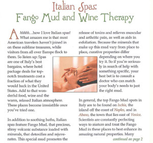 Italian Spas: Fango Mud and Wine Therapy